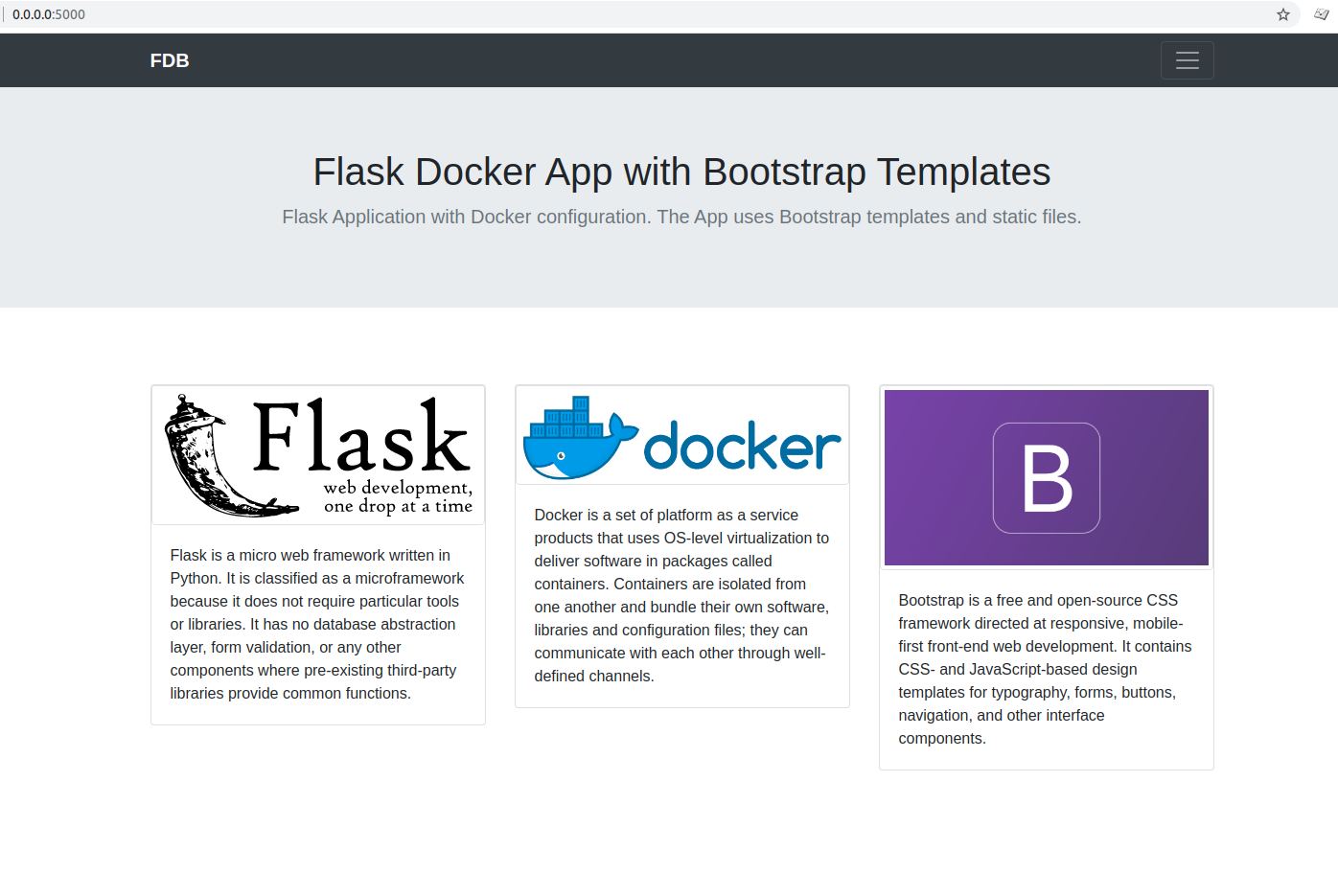 develop flask application using docker and bootstrap